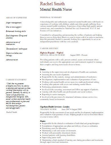 mental health nurse curriculum vitae