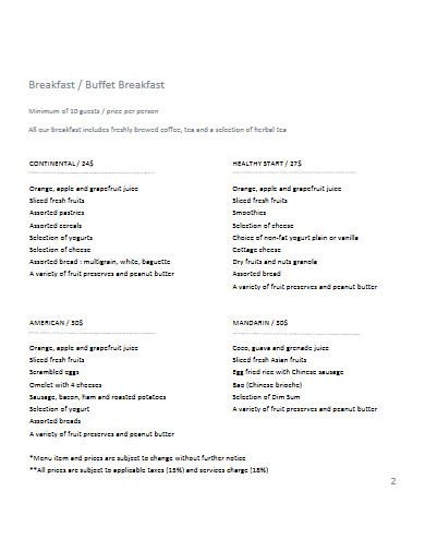 menu proposal for restaurant