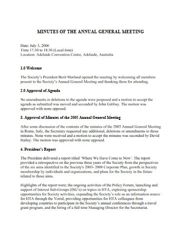 minutes of annual general meetings
