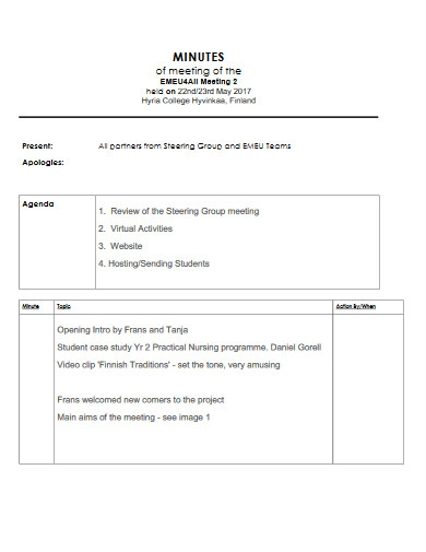 minutes of meeting example
