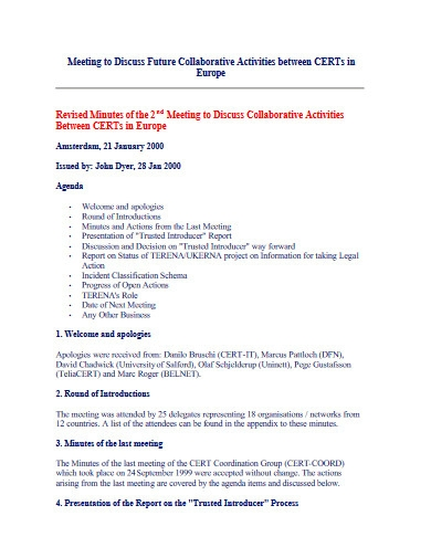minutes of the meeting activities
