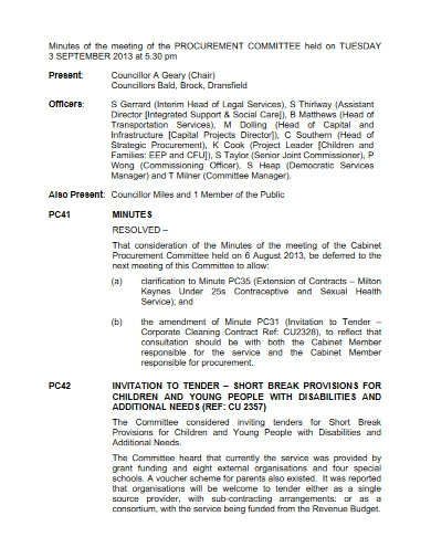 minutes of the meeting procurement committee