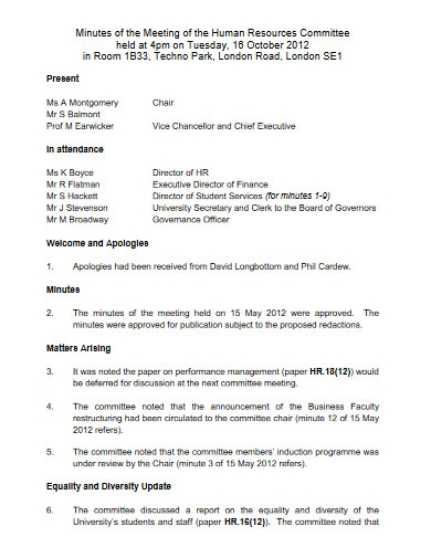 minutes of the meeting of the hr committee