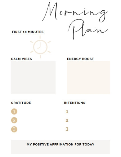 morning routine planner template