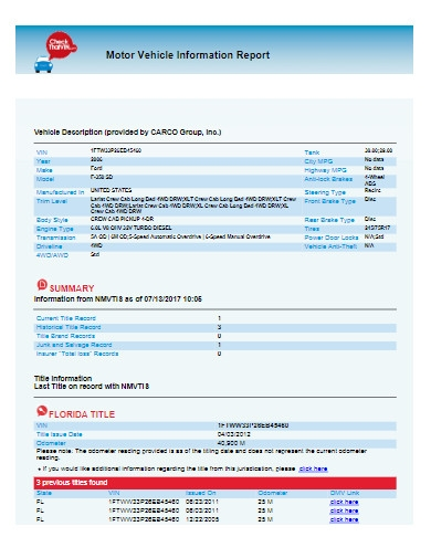 motor vehicle information report