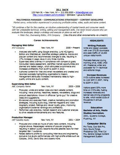 multimedia manger resume