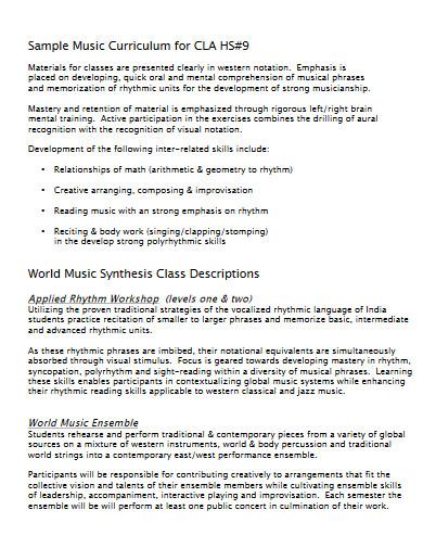 music curriculum proposal