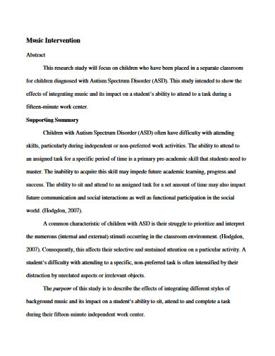 music intervention proposal
