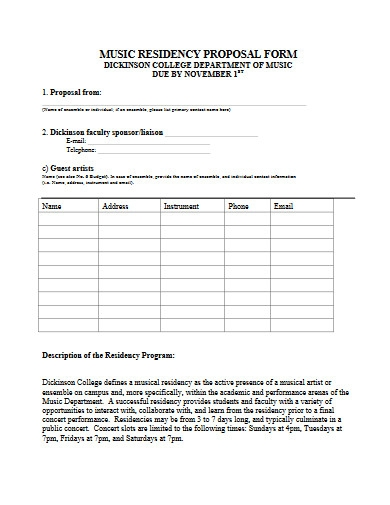 music residency proposal form