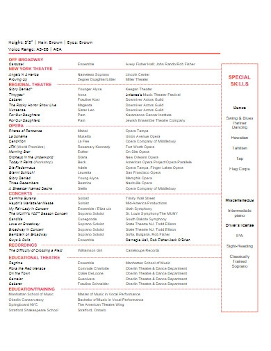 musical theater resume