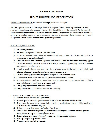 night auditor job description