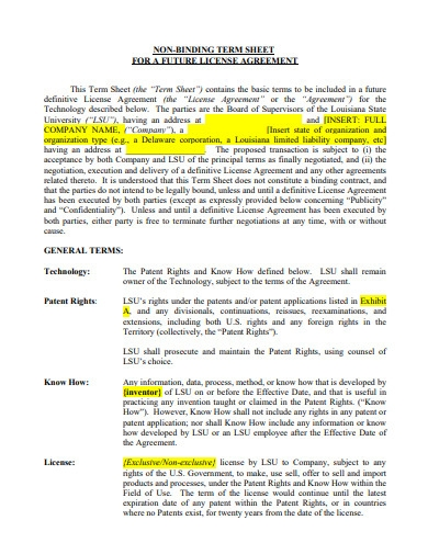 non binding term sheet