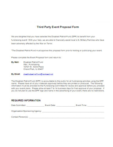 non profit fundraising proposal form