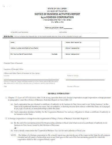 notice of business activities report in pdf