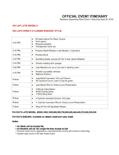 official event itinerary