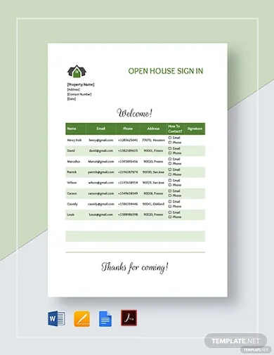 open house sign up sheet templates