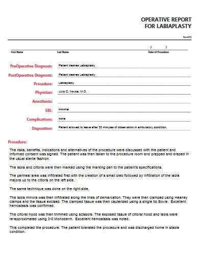 operative report example