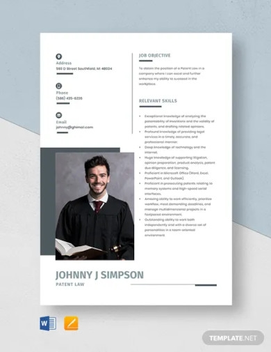 patent law resume template