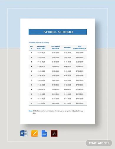 payroll schedule template