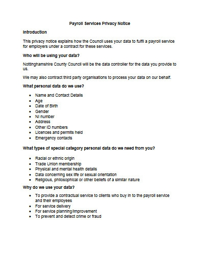 payroll services privacy notice