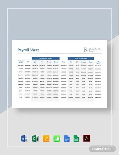 payroll sheet template