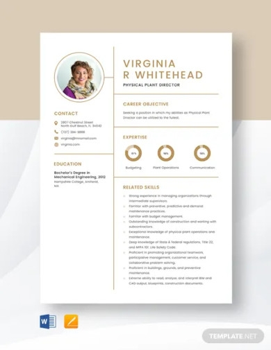 physical plant director resume template