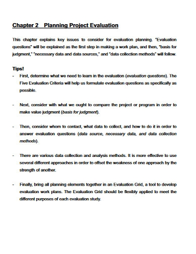 planning project evaluation
