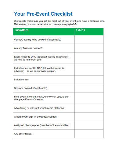 pre event checklist template