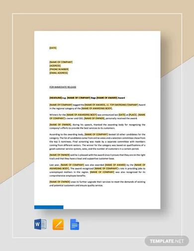 press release company won an award template