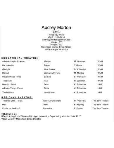 printable acting resume template