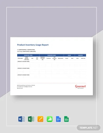 product inventory usage report templates