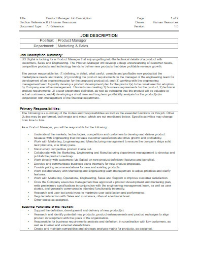 product manager job description example