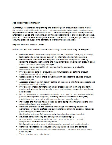 product manager job description template