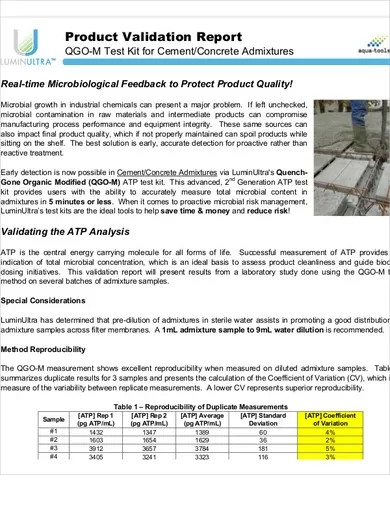 product validation report