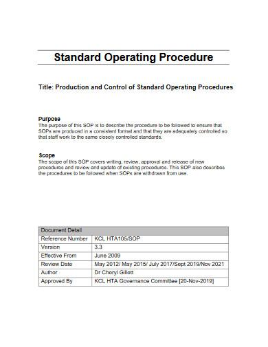 production standard operating procedure