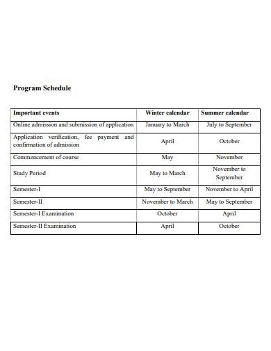 program schedule example