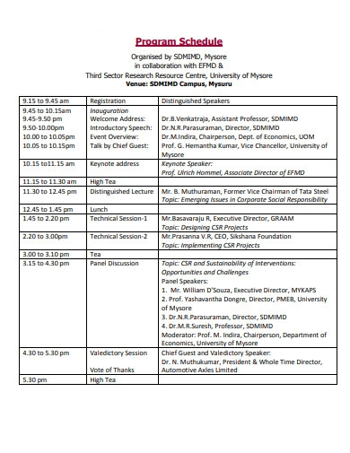 program schedule format