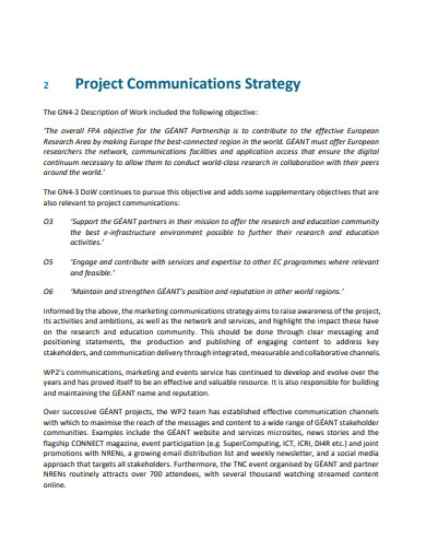 project communications strategy and plan