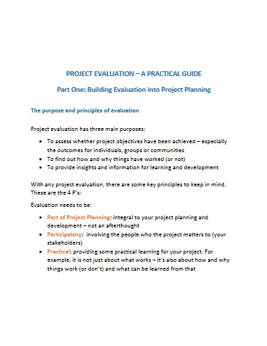 project evaluation and planning