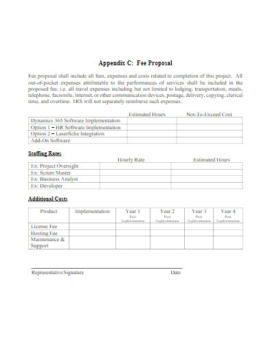 project fee proposal
