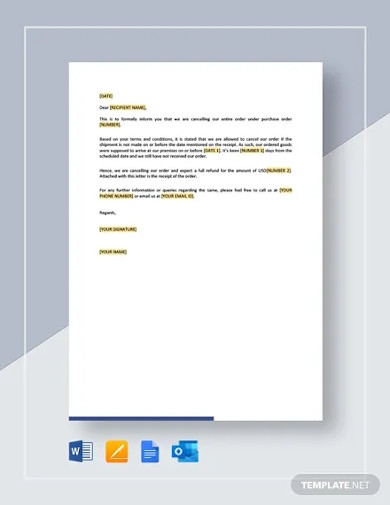 purchase order cancellation letter template