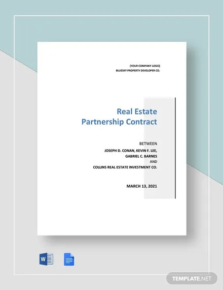 real estate partnership contract templates
