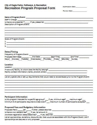 recreation program proposal form