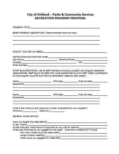 recreation program proposal
