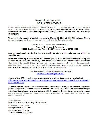 request for proposal call center services