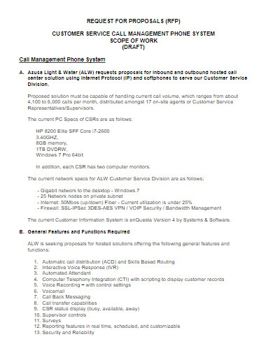 request for proposal customer services