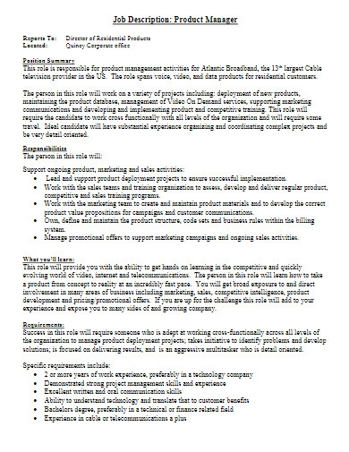 residential product manager job description