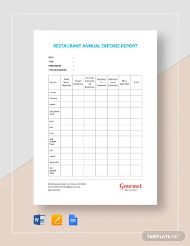 restaurant annual expense report template