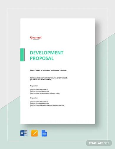 restaurant development proposal template