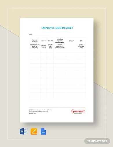 restaurant employee sign in sheet template